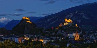 Nightscape Sion, Ελβετία Στοκ φωτογραφία με δικαίωμα ελεύθερης χρήσης