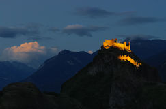 Nightscape of Sion, Switzerland at twilight Royalty Free Stock Images