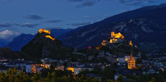 Nightscape of Sion, Switzerland royalty free stock photo