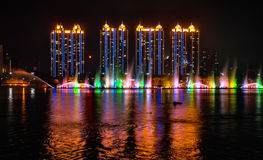 NIGHTSCAPE OF SONGHUA RIVER,JILIN,CHINA. The night view of Songhua River and the buildings Royalty Free Stock Images