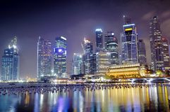 nightscape stads- singapore Fotografering för Bildbyråer