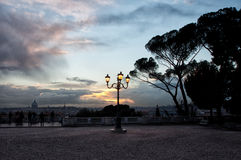Nightscape with street lamp, Villa Borghese, Rome, Italy Royalty Free Stock Image