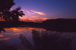 Nightscape - sunset at the Tisza (Tisa) river in Hungary.  Royalty Free Stock Images