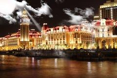nightscape a Tianjin, Cina Fotografie Stock Libere da Diritti