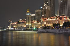 The nightscape of  Tianjin City by the Haihe River Stock Images
