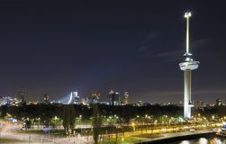 Nightscape and tower, rotterdam Royalty Free Stock Photography