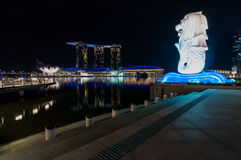 Nightscape at urban view and reflection. This urban view near merlion singapore royalty free stock image