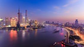 Nightscape van Shanghai, China royalty-vrije stock fotografie