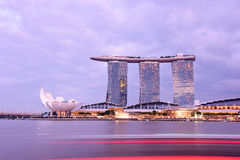 Nightscape van Singapore Marina Bay Sand Stock Afbeelding