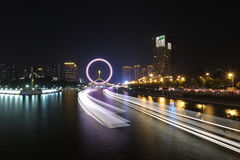 Nightscape van Tianjin-Oog Stock Afbeelding