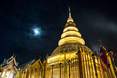 Nightscape view of Wat Phra That Hariphunchai Royalty Free Stock Photography
