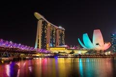 Nightscape von Singapur Marina Bay Sand Stockbilder