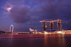 Nightscape von Singapur Marina Bay Sand Lizenzfreies Stockfoto