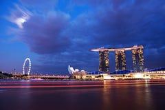 Nightscape von Singapur Marina Bay Sand Lizenzfreie Stockfotografie