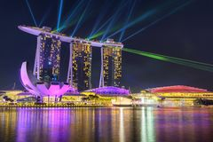 Nightscape von Singapur Marina Bay Sand Singapore lizenzfreie stockfotos