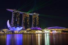 Nightscape von Singapur Marina Bay Sand Singapore lizenzfreies stockbild