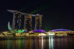 Nightscape von Singapur Marina Bay Sand Singapore lizenzfreie stockfotografie