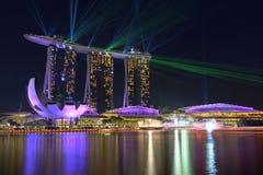 Nightscape von Singapur Marina Bay Sand Singapore lizenzfreies stockfoto