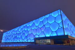The nightscape of Water Cube in Beijing, China. The Beijing National Aquatics Center, also officially known as the National Aquatics Center, and colloquially Stock Photo