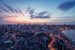 Nightscapen av shanghai Royaltyfri Bild