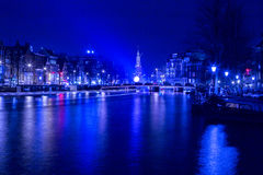 Nightscene阿姆斯特丹光节日 库存图片