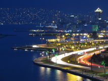 Citylights. A nightscene from the bay and port of Izmir, Turkey royalty free stock photography