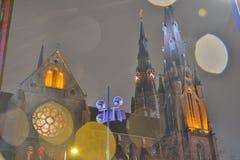 Nightscene , beautiful church. In the poring rain stock photos