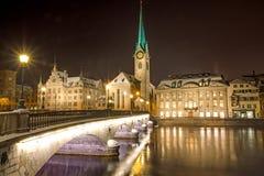 Nightscene in Zürich Stock Afbeeldingen