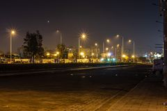 A nightscene cityscape shoot with good lightning and stone road. Photo has taken at izmir/turkey royalty free stock photo