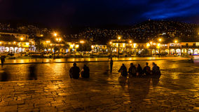 Nightscene in Cusco - Peru. One of the most beautiful places in Cusco, Peru, the Plaza de Armas in front of the Catedral de Santo Domingo Royalty Free Stock Image