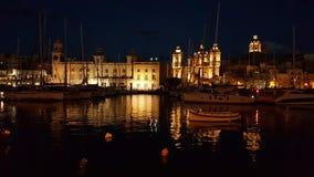 Nightscene de La Valeta Imagen de archivo