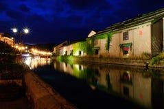 Nightscene del canale di Otaru, Hokkaido Fotografie Stock Libere da Diritti