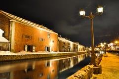 Nightscene del canel di Otaru Fotografie Stock Libere da Diritti
