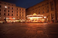 Nightscene in Florence - carousel. On square Royalty Free Stock Photo