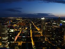Nightscene of Frankfurt city. From above Royalty Free Stock Photography