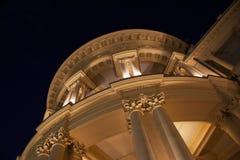 Nightscene greco della costruzione Fotografie Stock