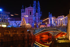 Nightscene in Ljubljana, capital city of Slovenia, in Christmas time Royalty Free Stock Image