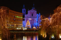 Nightscene in Ljubljana, capital city of Slovenia, in Christmas time Royalty Free Stock Photos