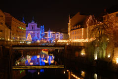 Nightscene in Ljubljana, capital city of Slovenia, in Christmas time Stock Image