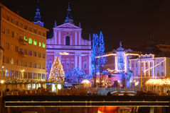 Nightscene in Ljubljana, capital city of Slovenia, in Christmas time Stock Images