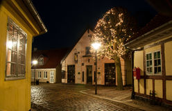 Nightscene. A nightphoto from the old area of Odense Stock Image