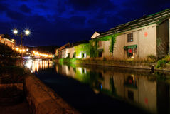 Nightscene of Otaru Canal, Hokkaido Royalty Free Stock Photos