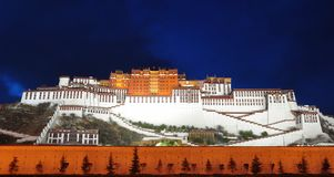 Nightscene of Potala palace Royalty Free Stock Images
