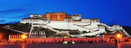 Nightscene of Potala palace. In Lhasa,Tibet,China Royalty Free Stock Photos