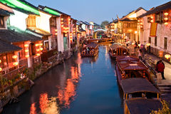 Nightscene of Suzhou street. Qilishantang Royalty Free Stock Photos