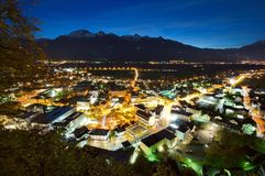 Nightscene of Vaduz in Liechtenstein. At night Stock Photo