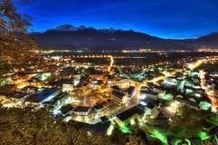 Nightscene van Vaduz in Liechtenstein Royalty-vrije Stock Fotografie