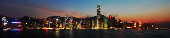 Nightscenes of HongKong. Panoramic view:Nightsceen of Victoria Harbour, Hong Kong,edited Royalty Free Stock Images