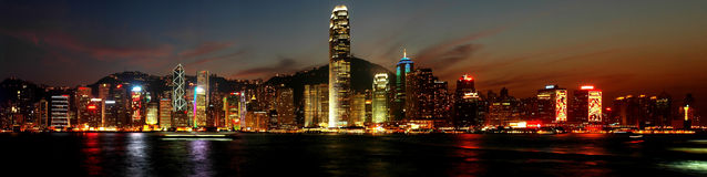 Nightscenes of Hongkong. Panoramic view:Nightsceen of Victoria Harbour, Hong Kong,edited by photoshop CS Royalty Free Stock Photos
