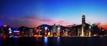 Nightscenes of Hongkong. Panoramic view:Nightsceen of Victoria Harbour, Hong Kong,edited Stock Photography